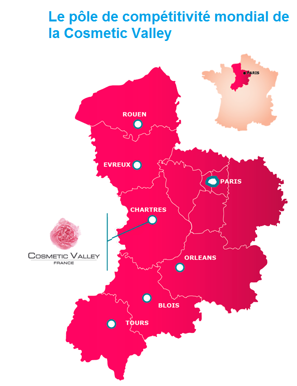 Carte du pole de competitivité COSMETIC VALLEY dans la région CENTRE